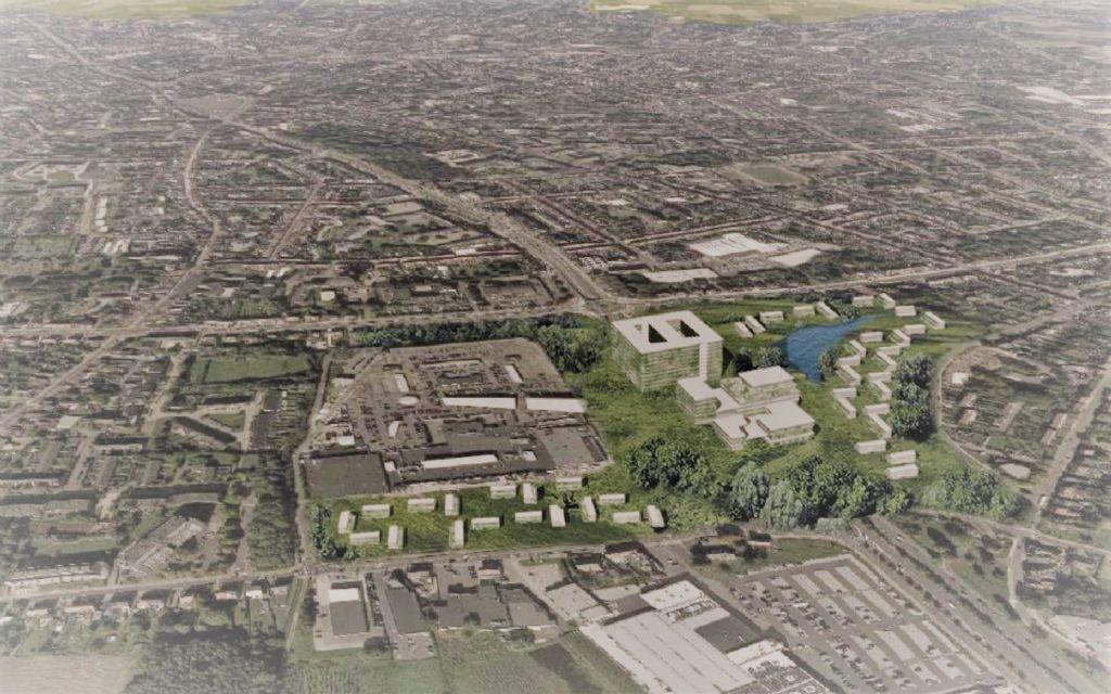 Een van de alternatieve locaties voor het ziekenhuis, dichter bij de stad zodat het afgebakende stedelijke gebied niet zou moeten hertekend worden.