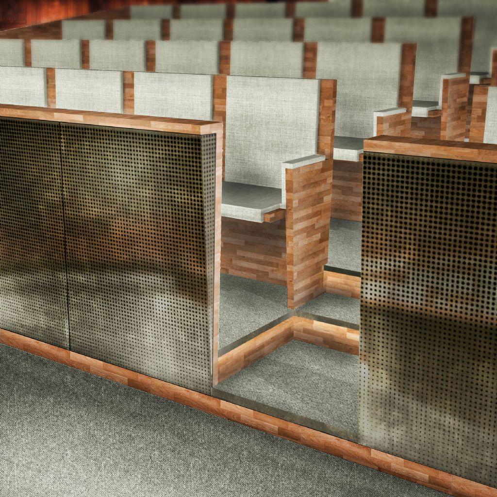 Voor de reconversie van de voormalige assisenzaal in het oude Gerechtshof in Antwerpen naar ceremoniezaal ontwierp Marge nieuwe zittribunes.