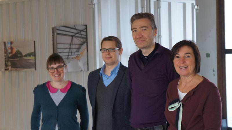 De ploeg van eureka-architectuur. (v.l.n.r. Liesbeth Vanderschueren, Steven Vandebroek, Paul Bogaert en Martine Vermeerbergen. Roel Schreurs staat niet op de foto.)
