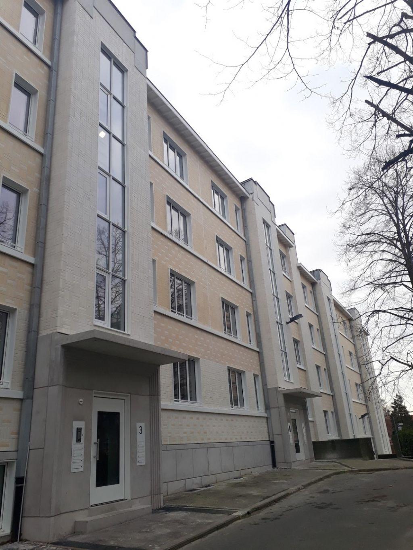 Un des 5 bâtiments de la Nouvelle Cité, rénové en profondeur et réhabilité à la demande de la SLRB pour le Foyer du Sud.