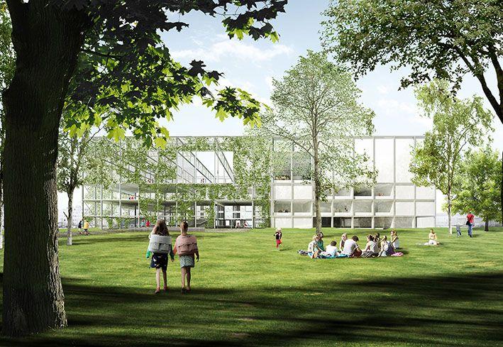 Het nieuwe stadsgebouw sluit aan op het woongroen van de Schipperskaai: links de groene buitenkamer en rechts het eigenlijke gebouw