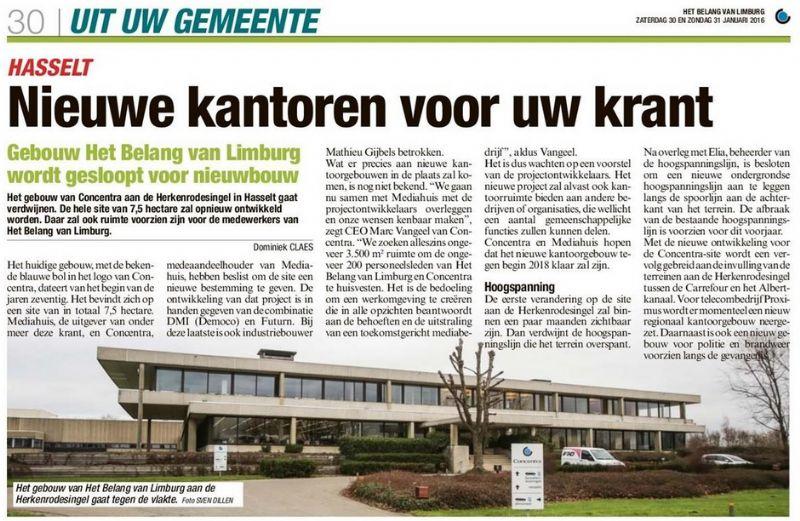Artikel 'Nieuwe kantoren voor uw krant' Het Belang van Limburg 30/1/2016