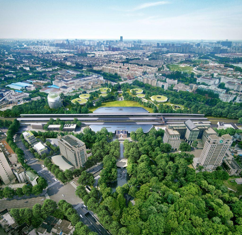 MAD ontwerpt verzonken treinstation in de bossen van Jiaxing