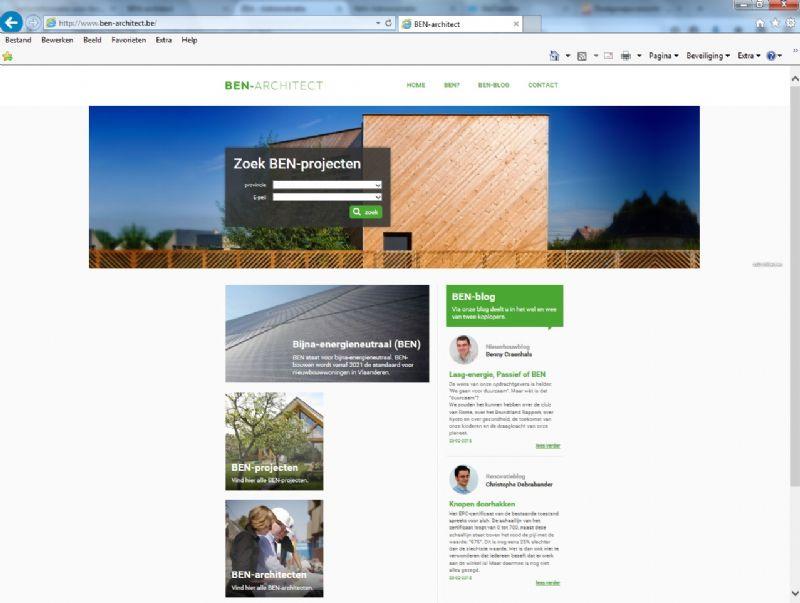De website www.BEN-architect.be bevat een databank met BEN-projecten ontworpen door de Vlaamse architectenorganisatie NAV met steun van Vlaams Minister van Energie Annemie Turtelboom.
