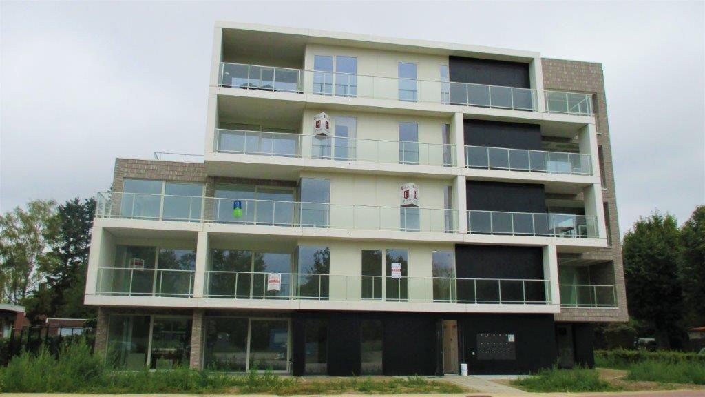 Een middelhoog volume in prefabbeton en aluminium plaatmateriaal doet dienst als kopgebouw.