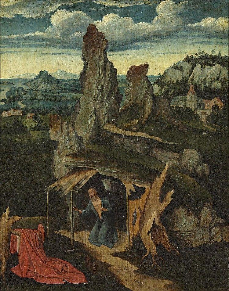 Een werk van de Spaanse schilder Joachim Patinir, bekend voor zijn kunstmatige landschappen.