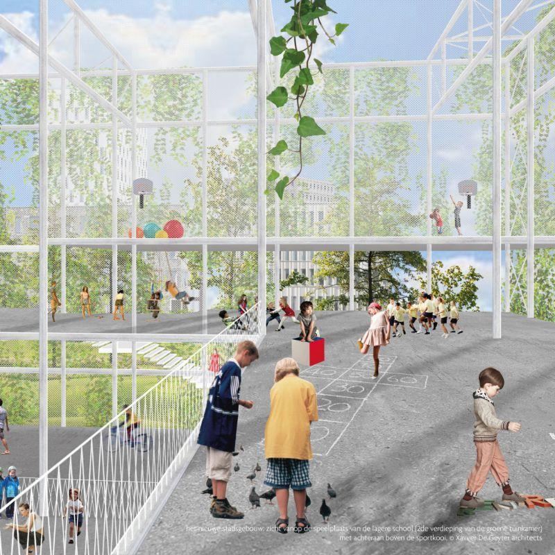 Het nieuwe stadsgebouw; zicht vanop de speelplaats van de lagere school (2de verdieping van de groene tuinkamer) met achteraan boven de sportkooi.