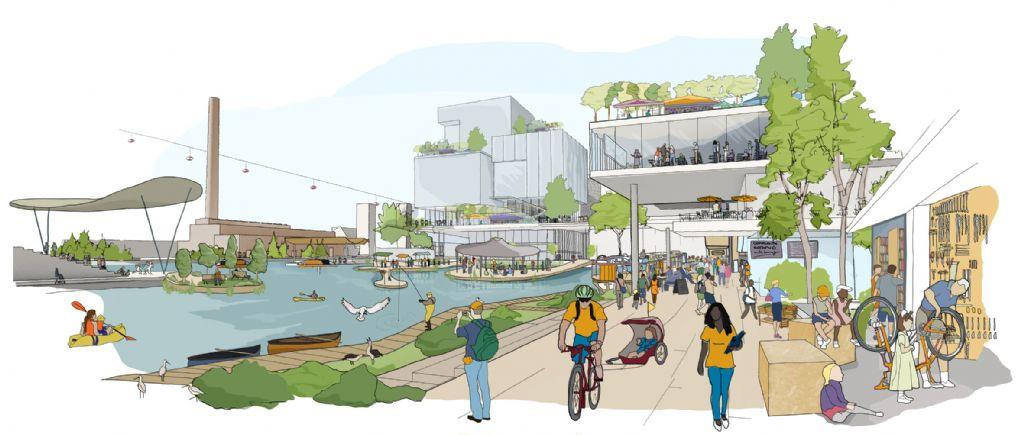 Er worden publieke ruimtes voorzien langs de waterkant met infrastructuur die in alle weersomstandigheden kan gebruikt worden