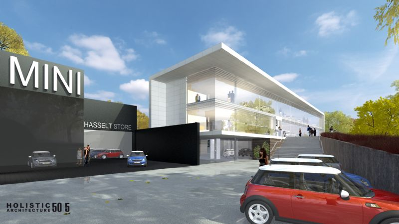 De Mini-garage en de BMW-garage worden samengebracht, maar behouden hun eigen uitstraling.