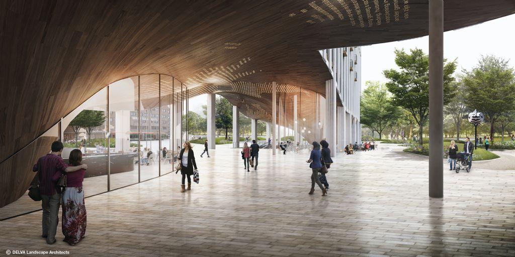 De stadshal met uniek plafond van Recht en Vrede vormt de verlenging van de stadionshal.
