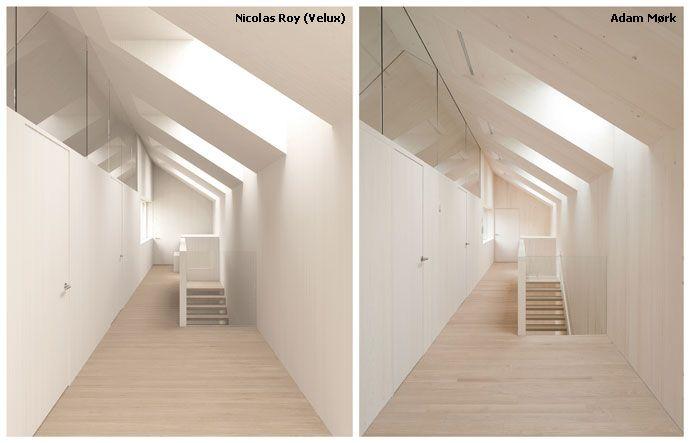Computersimulatiebeeld van de VELUX DAylight Visualiser, links, en foto van het gerealiseerde project, rechts (project 'Sunlighthouse', Pressbaum, Oostenrijk)