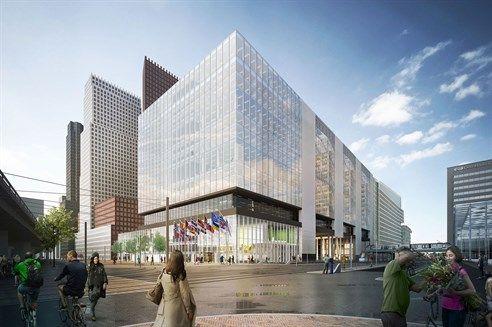 Het ontwerp voor het nieuwe VROM-gebouw in Den Haag. (Visualisatie: OMA)