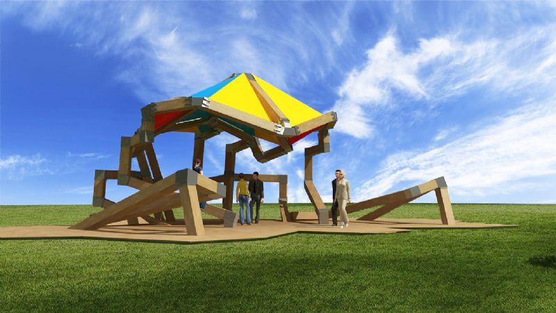 REKAMKEIZUM, 2009-2014 wood, iron, concrete and fabric 556 x 1394 x 1858 cm 219 x 549 x 731.5 inches  collectie/locatie: park Bel-Air - Willebroek, B