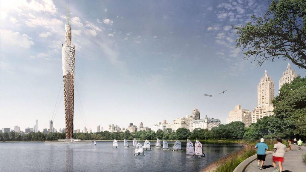 De toren rijst op uit een groot meer in Central Park.