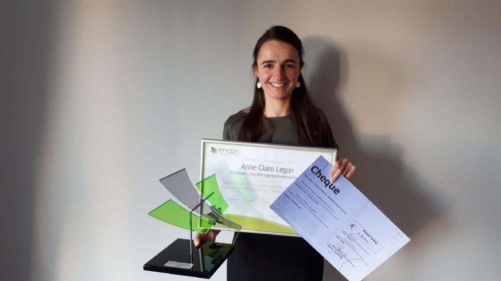 KU Leuven-studente Anne-Claire Legon mocht dit jaar de fel gegeerde Encon Energieprijs wegkapen.