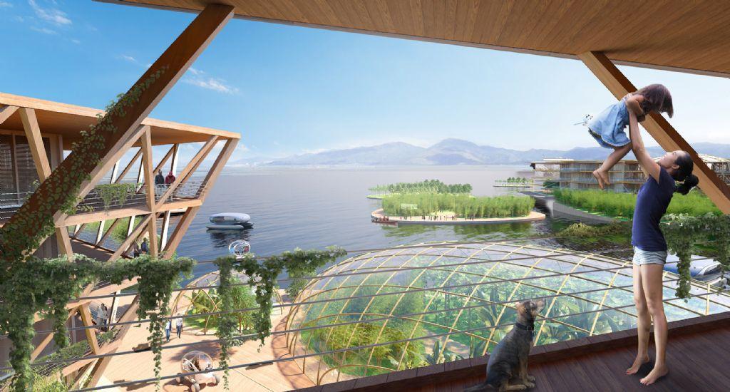 Landbouw wordt geïntegreerd met sociale ruimte zodat bewoners zelf in hun voedsel kunnen voorzien