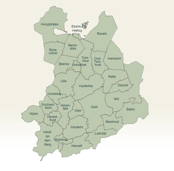 De regio van de Intercommunale Ontwikkelingsmaatschappij voor de Kempen (IOK)