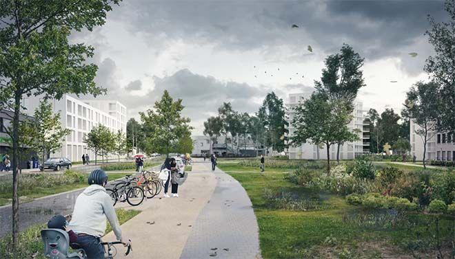 Toekomstbeeld van de nieuwe Oorlogskruisenlaan als klimaatstraat met bufferbermen en infiltratieplantsoenen.