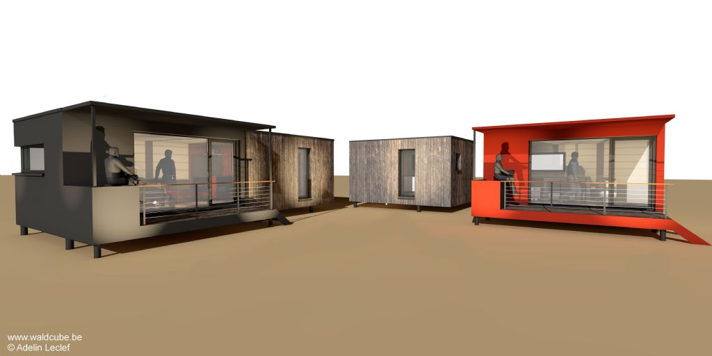 Vue 3D des déclinaisons du module de 25 mètres carrés proposé dans le cadre du projet 400toits