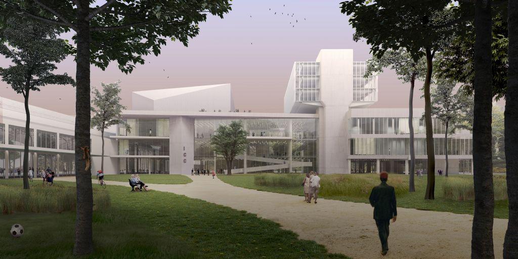 Een mogelijk toekomstbeeld van het ICC met een opengewerkte Floraliënhal (links) en een nieuwe congrestoegang aan de zijde van het park.