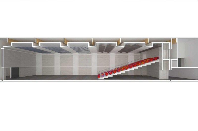 Het plafond moest te plekke gegoten worden ondanks een hoogte van 50 cm tot het bestaande dak.