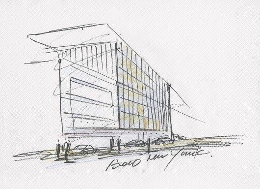 Een tekening van het luxe-appartement, door Tadao Ando.