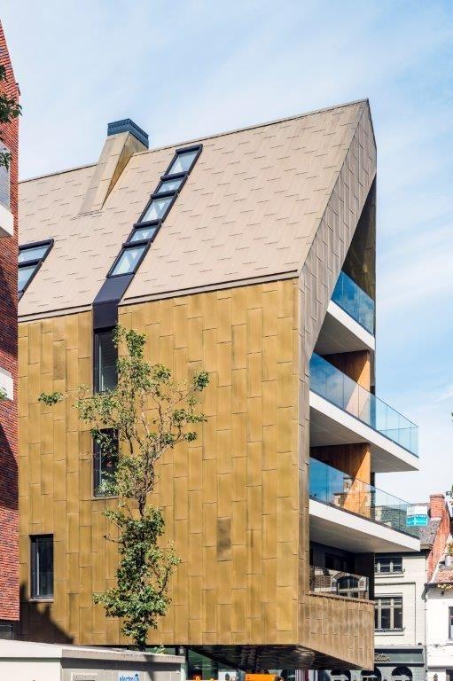 De architectuur mocht een eigen accent leggen. Vandaar de keuze voor zadeldaken met een twist en een uniforme dak- en gevelbekleding.