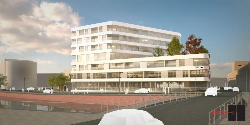 Het Budalysproject in Kortrijk omvat een woonzorgcentrum met ondergrondse parking.