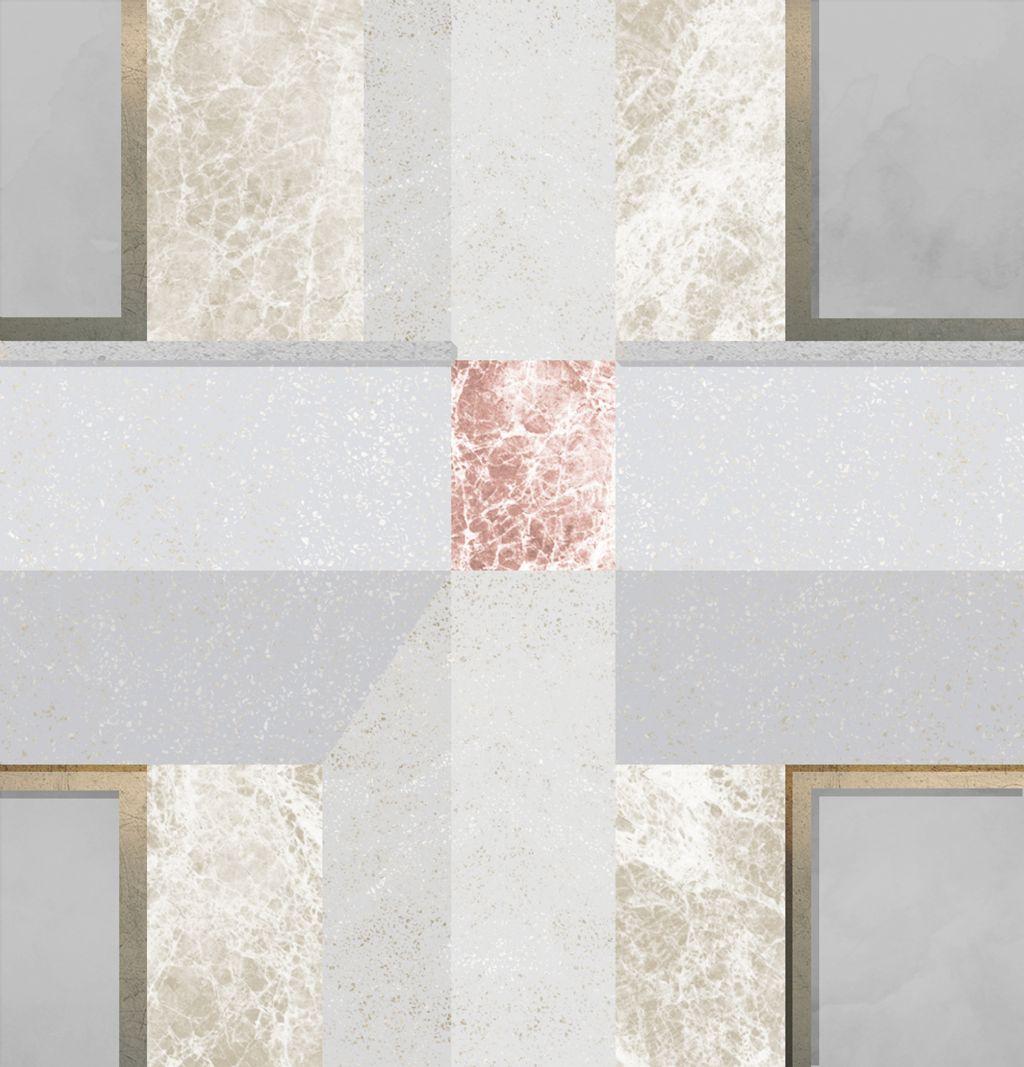 Het vals perspectief van de gevel van het Rubenianum uitgewerkt in een combinatie van gepolijst beton en marmer.