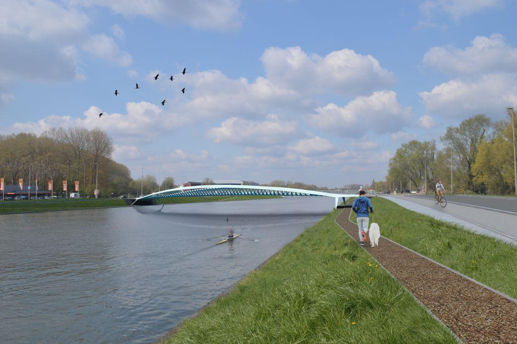 Licht op groen voor fiets- en voetgangersbrug van Ney & Partners over Watersportbaan in Gent