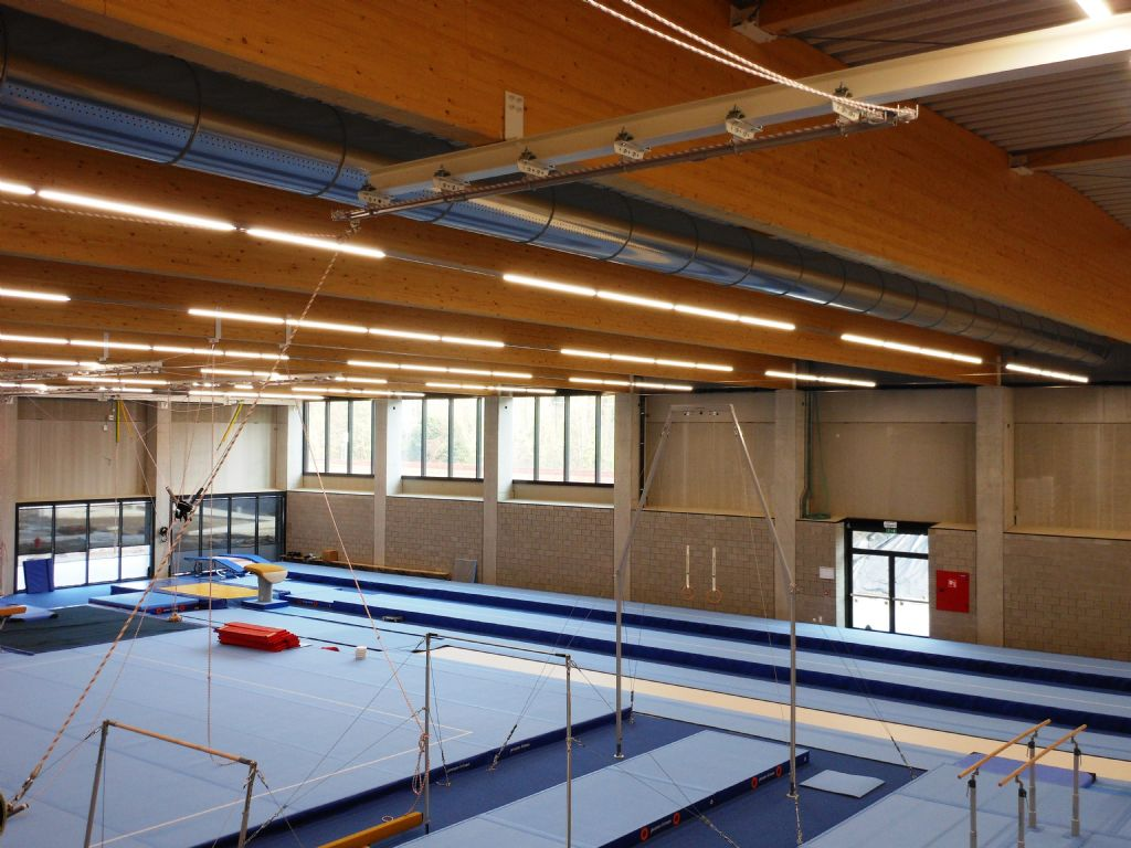 Crossflow stond in voor de HVAC-installaties van de grote sporthal, turnzaal, danszaal, gevechtsportzaal en fitnessruimte.