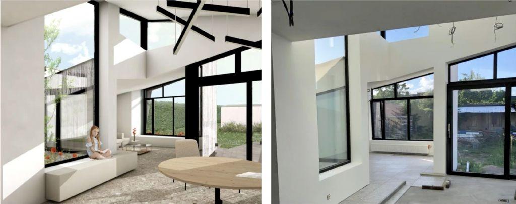 Links de 3D-visualisatie in Archicad van de achterbouw van Vandenhouwes eigen woning, rechts het eindresultaat.