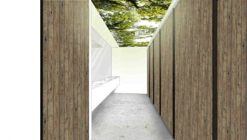 Hout is een belangrijk element in de vernieuwde paviljoenen.