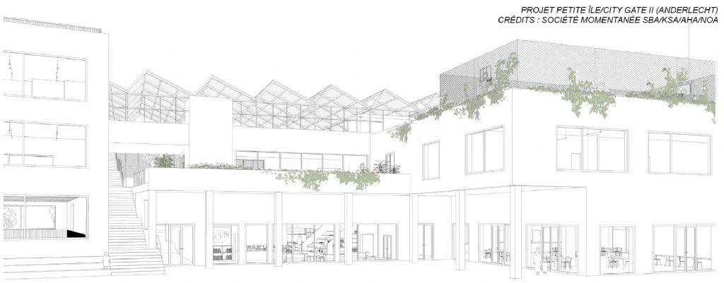 Petite-île Anderlecht, avant-projet : Place de Tous (cour de récréation)