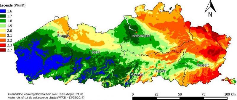 Deze kaart geeft de gemiddelde warmtegeleidbaarheid in Vlaanderen over honderd meter diepte weer.