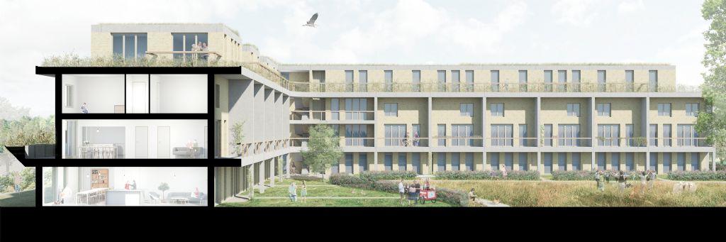 Het project in een Community Land Trust in de wijk Meulestede in Gent kenmerkt zich niet alleen door een onconventioneel financieel model, maar ook door de specifieke schakeling van woningen.