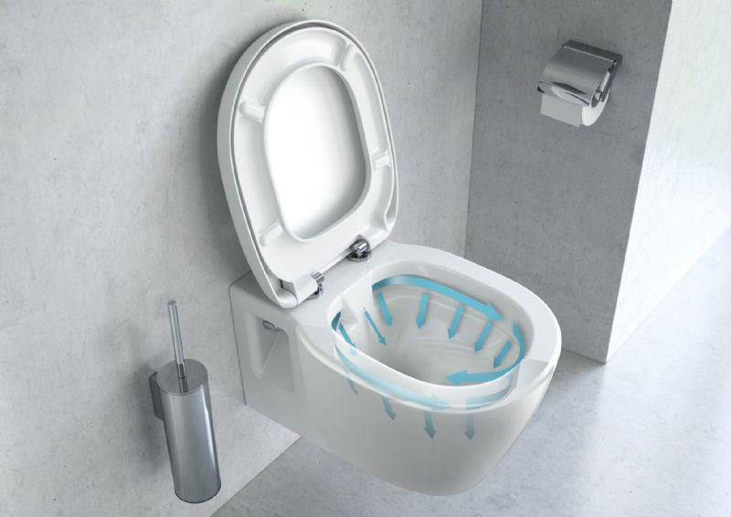 Het Connect Rimless toilet heeft geen spoelrand, waardoor er minder water en arbeid nodig is om het proper te houden.