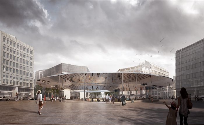 Het Deens-Belgische team COBE + BRUT mag het Schumanplein heraanleggen