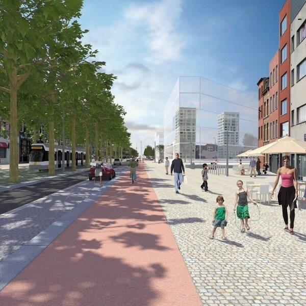Zo zal de Londen Amsterdamstraat op het Eilandje er binnen tweeënhalf jaar uitzien. Een paradijs voor de omliggende bewoners en zwakke weggebruikers. (Beeld: Stad Antwerpen)