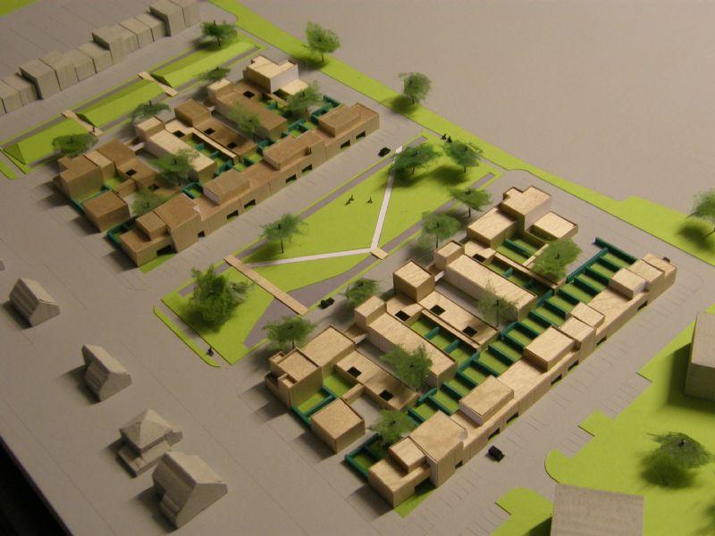 Maquette met cluster- en rijwoningen