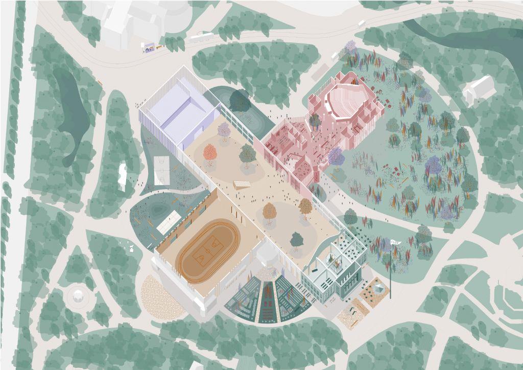De Floraliënhal als centrale open plek in het park, omringd door het Kuipke, het ICC en het S.M.A.K.