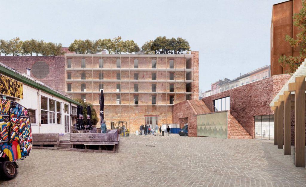 Simulatie van de inrichting van het plein aan de Manchesterstraat 13-15, met rechts de trap naar het terras met aanplantingen.