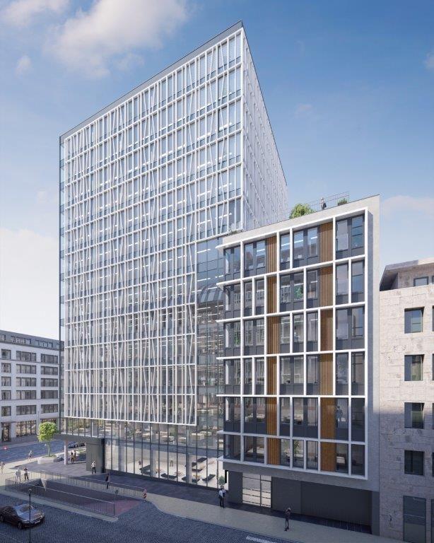De rijzige kantoortoren heeft een subtiele aanblik en leunt aan tegen een stijlvol appartementsgebouw met twaalf wooneenheden en een daktuin.