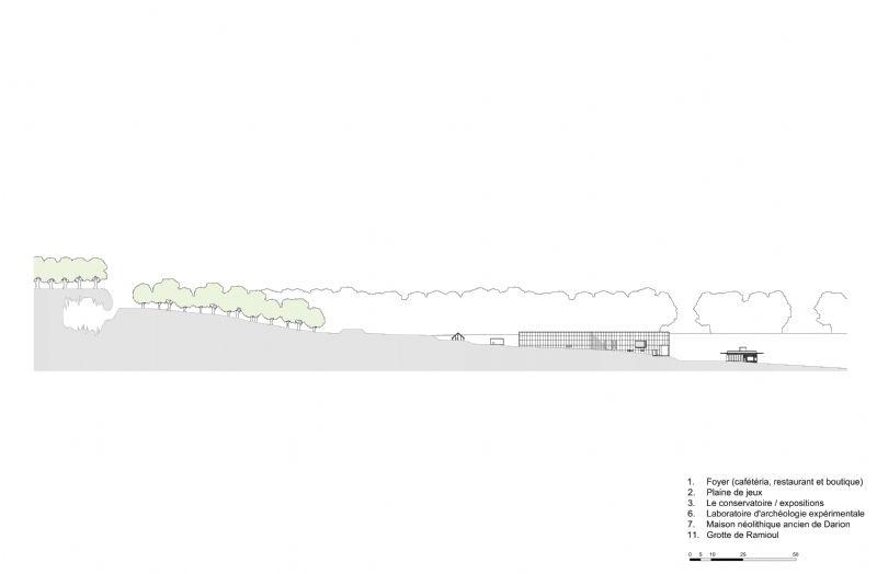 Le bâtiment se loge au creux de la vallée. Son implantation s'intègre naturellement dans le profil du paysage.