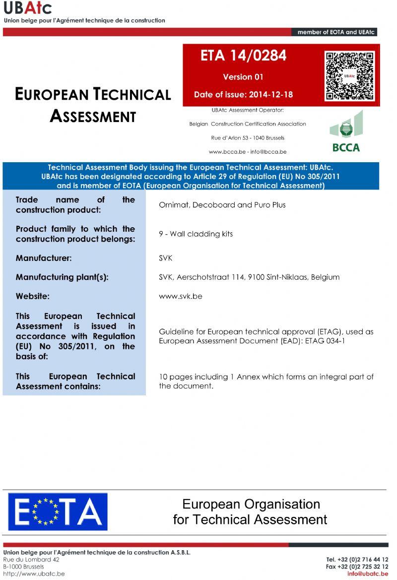 Het ETA-certificaat van SVK