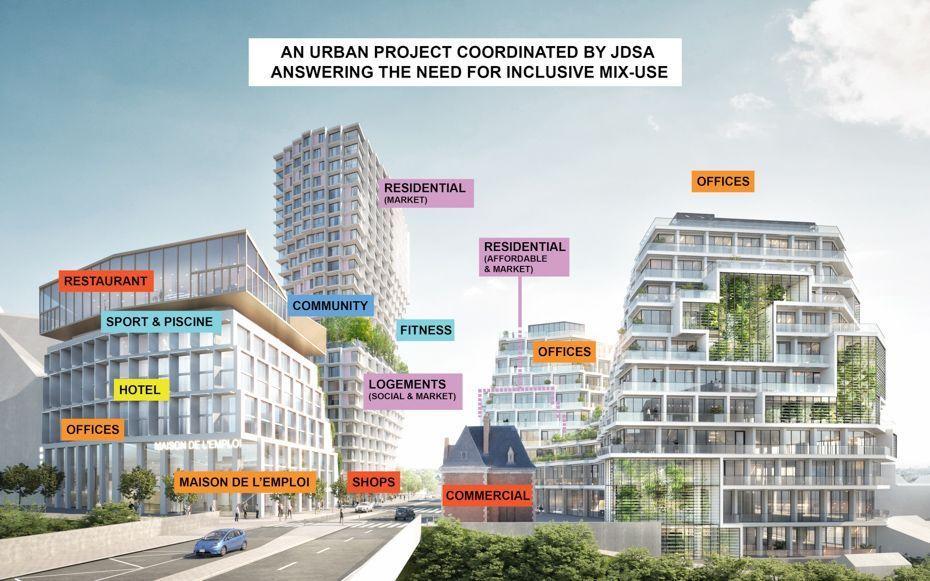 Visualisatie van een grootschalig stadsontwikkelingsproject in Rennes, ontworpen door een team met JDS architects (Kopenhagen en Brussel), Stéphane Maupin (Parijs), Maurer et Gilbert architectes (Rennes) en Think Tank (Parijs).
