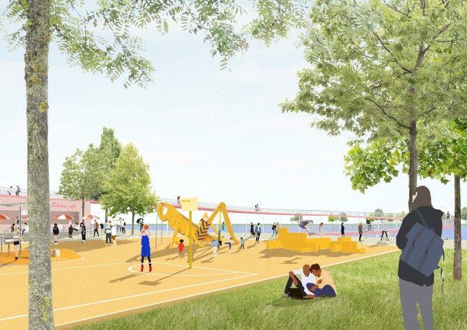 Een toekomstbeeld van het Kadepark in de Slachthuiswijk