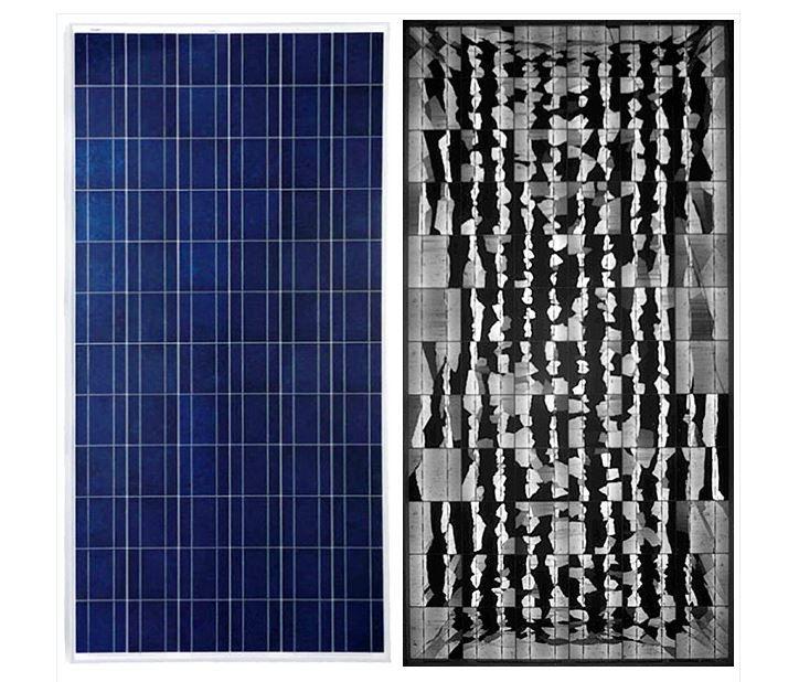 Schijnbaar intacte module na een schok (links) en visualisatie door middel van elektroluminescentie (rechts) (bron: Eliosys)
