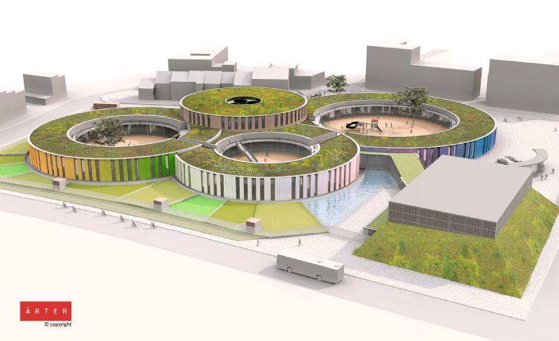 De begroeiing draagt bij tot de biodiversiteit op de site: de buitenaanleg rond de school is als een groene structuur ontworpen: moestuinen, groene gevels en daken, vijvers.