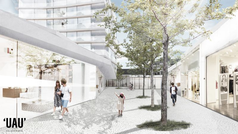 Het gebied daartussen zal plaatsmaken voor een buitenruimte die als het ware opnieuw een straat vormt.
